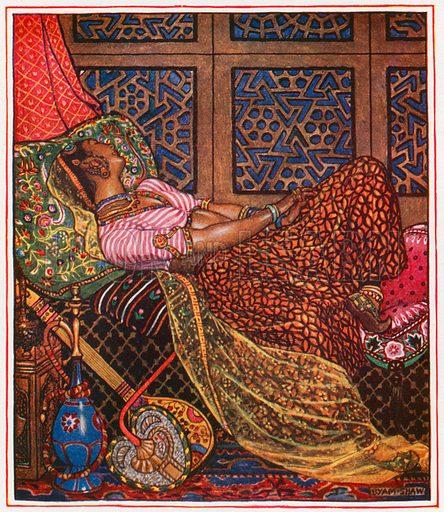 Zira in captivity. Illustration for Complete Love Lyrics by Laurence Hope (Garden City, c 1915).