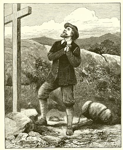 Christian before the Cross. His burden fell off his back and began to tumble.   Illustration for Pilgrim