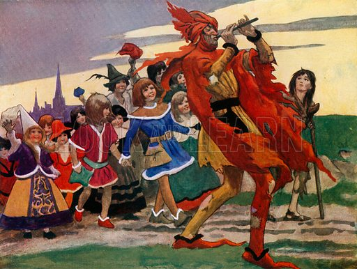 They hurried after the Piper, laughing and dancing and shouting for joy. Illustration for My Book of Beautiful Legends by Christine Chaundler and Eric Wood (Cassell, c 1910).