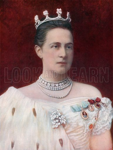 The Queen of Greece.  Coloured photograph from Royalties of the World (George Newnes, 1901).