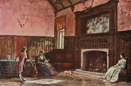The Hall at Stoke Poges Manor. Illustration for Poets' Country edited by Andrew Lang (Jack, 1907).