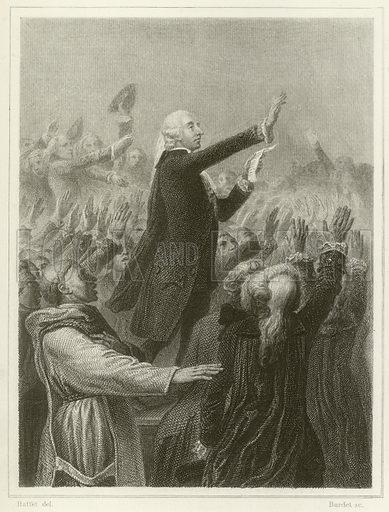 Tennis Court Oath.  Illustration for Histoire de la Revolution Francaise by M A Thiers (Furne, Jouvet, 1880).