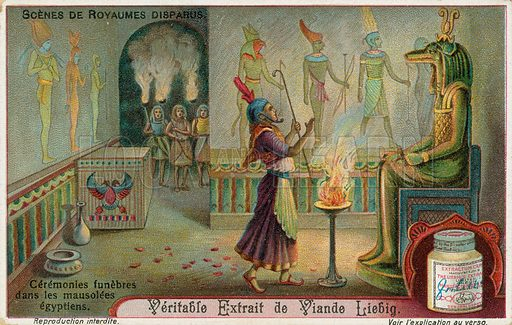 Ancient Egypt, funeral ceremony.  Liebig card, early 20th century.  Chromolithograph.