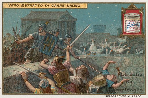 Geese of the Capitoline hill.  Liebig card, early 20th century.  Chromolithograph.