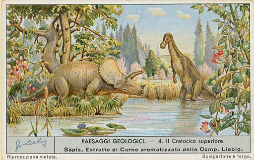 Prehistoric world.  Liebig card, early 20th century.  Chromolithograph.