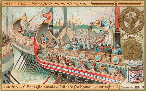 History of Sicily.  Liebig card, early 20th century.  Chromolithograph.