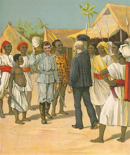 Meeting between Stanley and Livingstone.  Illustration for Les Heros de L'Afrique (J Lebegue, c 1890).