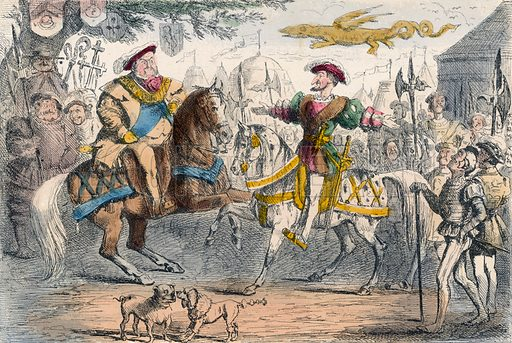 Henry VIII meets Francis I.  Illustration for The Comic History of England (Bradbury, Evans, c 1850).