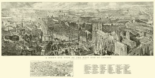A Bird's Eye View of the West End of London. Illustration for The Graphic, 21 September 1889.