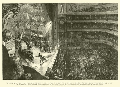 """Boxing Night at Old Drury, the House and the Stage seen from the Uppermost Box, the Grand Hall of a Million Mirrors at the Prince's Palace in the Pantomime of """"Little Bo Peep, Little Red Riding-Hood, and Hop-O' My Thumb,"""" at Drury Lane Theatre. Illustration for The Graphic, 1892."""