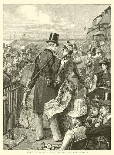 Cup Day at Ascot, the Masses and the Classes. Illustration for The Graphic, 29 June 1889.