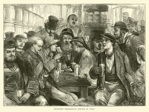 Absinthe Drinkers, a Sketch in Paris. Illustration for The Graphic, 2 November 1872.