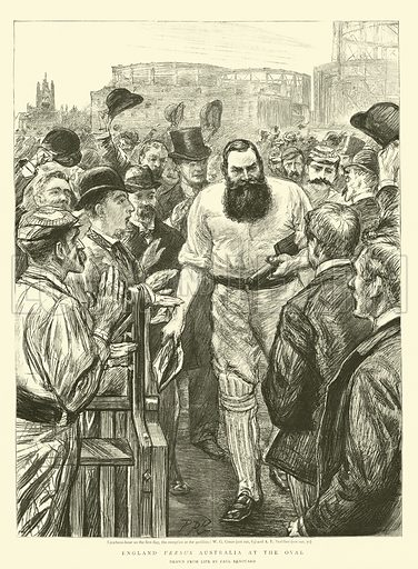 England versus Australia at the Oval. Illustration for The Graphic, 26 August 1893.