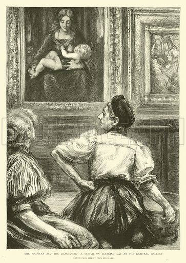 The Madonna and the Charwomen, a Sketch on Cleaning Day at the National Gallery. Illustration for The Graphic, 10 December 1898.