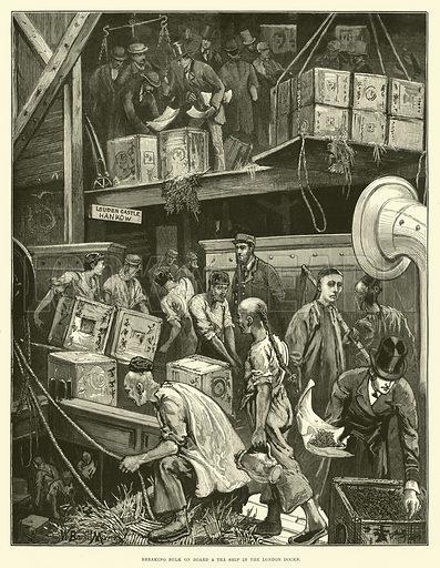 Breaking Bulk on Board a Tea Ship in the London Docks. Illustration for The Illustrated London News, 8 December 1877.