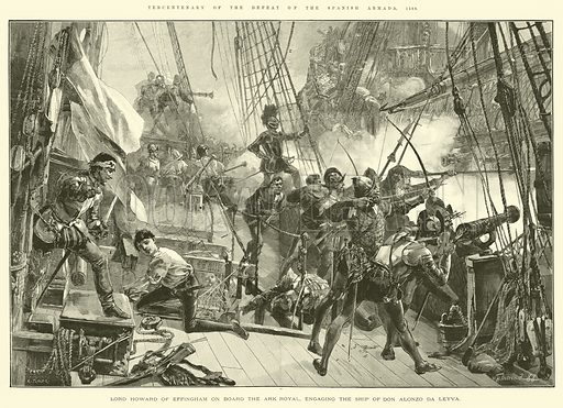 Tercentenary of the Defeat of the Spanish Armada, 1588, Lord Howard of Effingham on Board the Ark Royal, engaging the Ship of Don Alonzo da Leyva. Illustration for The Illustrated London News, 14 July 1888.