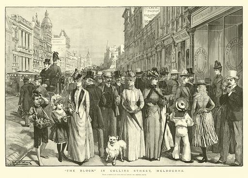 """""""The Block"""" in Collins Street, Melbourne. Illustration for The Illustrated London News, 4 January 1890."""