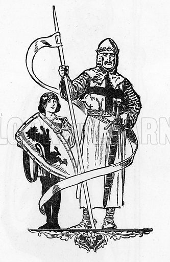 Knight and page. Illustration for Tales and Talks from History (Blackie, c 1910).