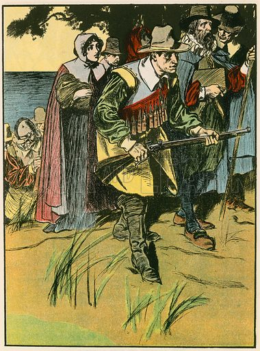 The Pilgrim Fathers entering the New World. Illustration for Tales and Talks from History (Blackie, c 1910).
