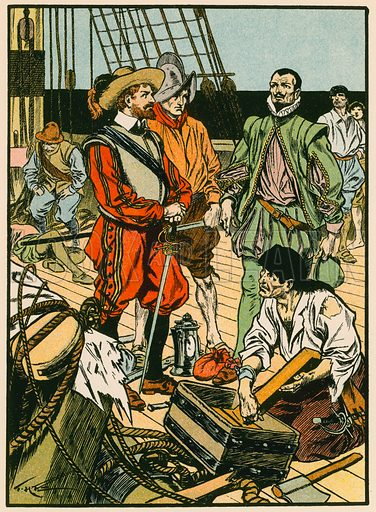 Captured Treasure. Sir Francis Drake. Illustration for Tales and Talks from History (Blackie, c 1910).