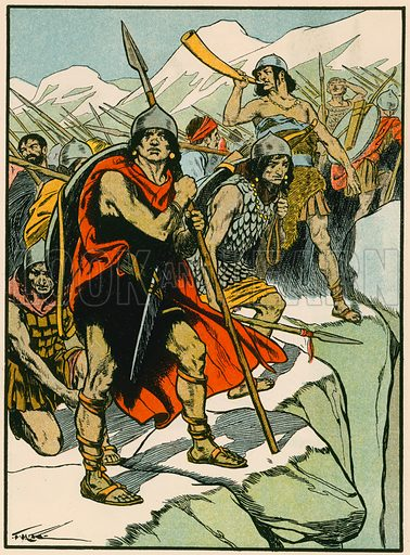 Hannibal's soldiers. Illustration for Tales and Talks from History (Blackie, c 1910).