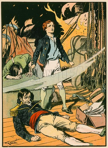 Casabianca on the Burning Ship. Illustration for Tales and Talks from History (Blackie, c 1910).