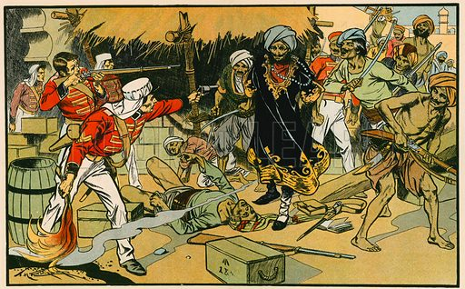 Destruction of the magazine at Delhi. Illustration for Tales and Talks from History (Blackie, c 1910).