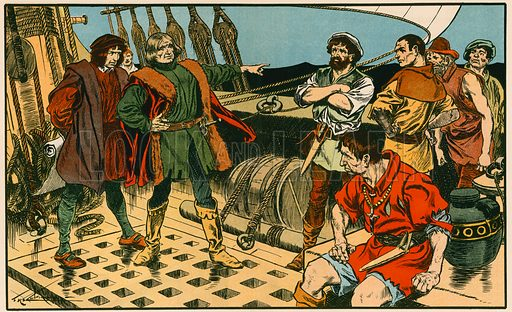 Columbus on his voyage to America. Illustration for Tales and Talks from History (Blackie, c 1910).