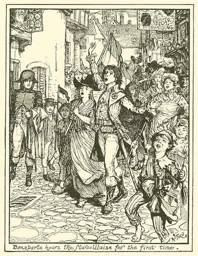 Bonaparte Hears the Marseillaise for the First Time. Illustration for The Book of Princes and Princesses by Mrs Lang (Longmans, 1908).