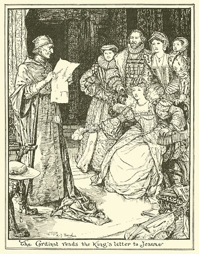The Cardinal Reads the King's Letter to Jeanne. Illustration for The Book of Princes and Princesses by Mrs Lang (Longmans, 1908).