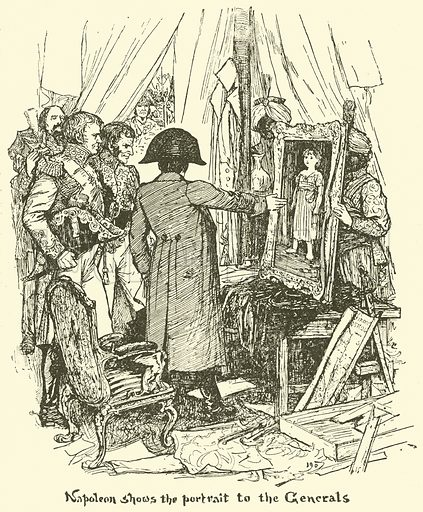 Napoleon shows the Portrait to the Generals. Illustration for The Book of Princes and Princesses by Mrs Lang (Longmans, 1908).