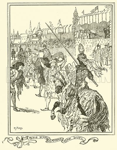 The King Stops the Duel. Illustration for The Book of Princes and Princesses by Mrs Lang (Longmans, 1908).
