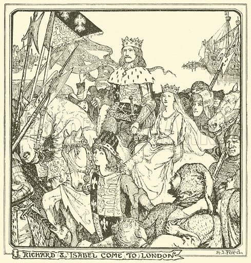 Richard & Isabel come to London. Illustration for The Book of Princes and Princesses by Mrs Lang (Longmans, 1908).