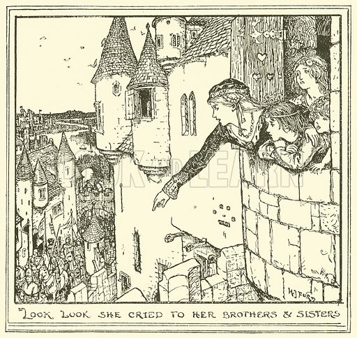 Look look she Cried to her Brothers & Sisters. Illustration for The Book of Princes and Princesses by Mrs Lang (Longmans, 1908).