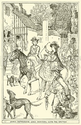 Marie Antoinette goes Hunting with the Dauphin. Illustration for The Book of Princes and Princesses by Mrs Lang (Longmans, 1908).