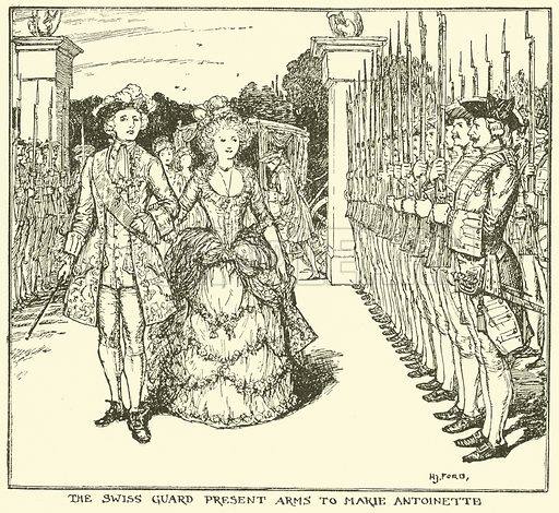 The Swiss Guard Present Arms to Marie Antoinette. Illustration for The Book of Princes and Princesses by Mrs Lang (Longmans, 1908).