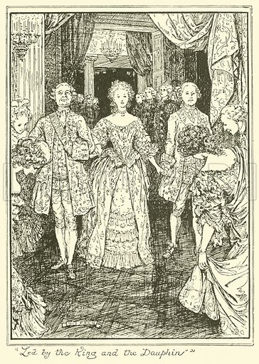 """Led by the King and the Dauphin"". Illustration for The Book of Princes and Princesses by Mrs Lang (Longmans, 1908)."
