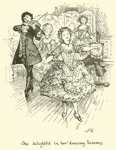 She Delighted in her Dancing Lessons. Illustration for The Book of Princes and Princesses by Mrs Lang (Longmans, 1908).