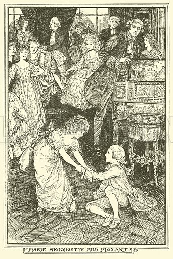 Marie Antoinette and Mozart. Illustration for The Book of Princes and Princesses by Mrs Lang (Longmans, 1908).