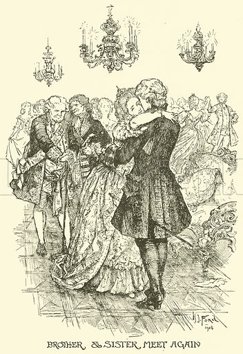 Brother & Sister Meet Again. Illustration for The Book of Princes and Princesses by Mrs Lang (Longmans, 1908).