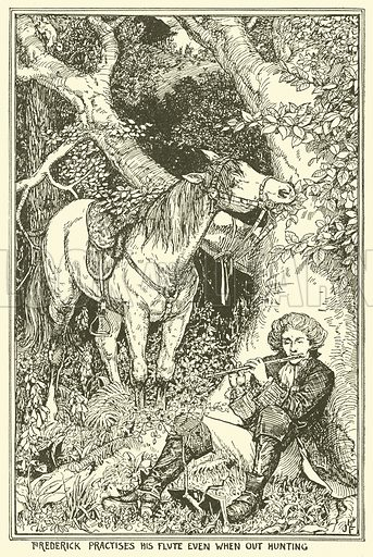 Frederick Practises his Flute even when out Hunting. Illustration for The Book of Princes and Princesses by Mrs Lang (Longmans, 1908).
