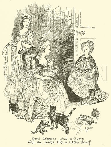 Good Gracious what a Figure why she looks like a Little Dwarj. Illustration for The Book of Princes and Princesses by Mrs Lang (Longmans, 1908).