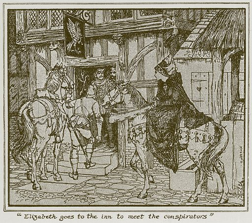 """Elizabeth goes to the Inn to Meet the Conspirators"". Illustration for The Book of Princes and Princesses by Mrs Lang (Longmans, 1908)."