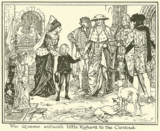 The Queen Entrusts Little Richard to the Cardinal. Illustration for The Book of Princes and Princesses by Mrs Lang (Longmans, 1908).