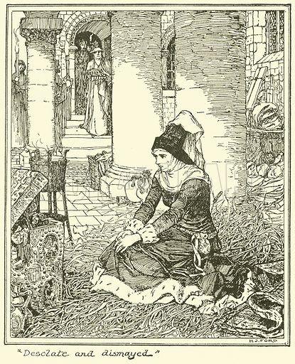 """""""Desolate and Dismayed"""". Illustration for The Book of Princes and Princesses by Mrs Lang (Longmans, 1908)."""