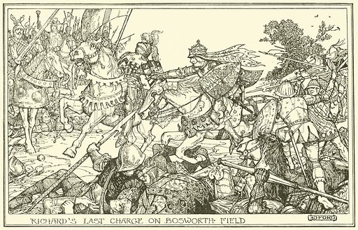 Richard's Last Charge on Bosworth Field. Illustration for The Book of Princes and Princesses by Mrs Lang (Longmans, 1908).