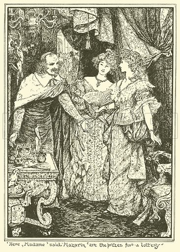 'Here, Madame' said Mazarin 'Are the Prizes for a Lottery'. Illustration for The Book of Princes and Princesses by Mrs Lang (Longmans, 1908).