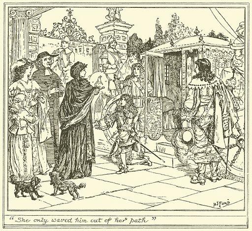 """""""She only Waved him out of her Path"""". Illustration for The Book of Princes and Princesses by Mrs Lang (Longmans, 1908)."""