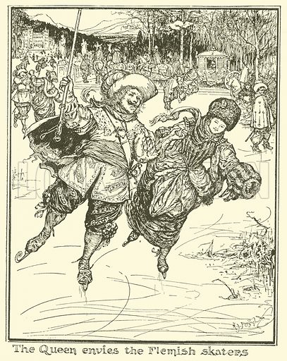 The Queen Envies the Flemish Skaters. Illustration for The Book of Princes and Princesses by Mrs Lang (Longmans, 1908).
