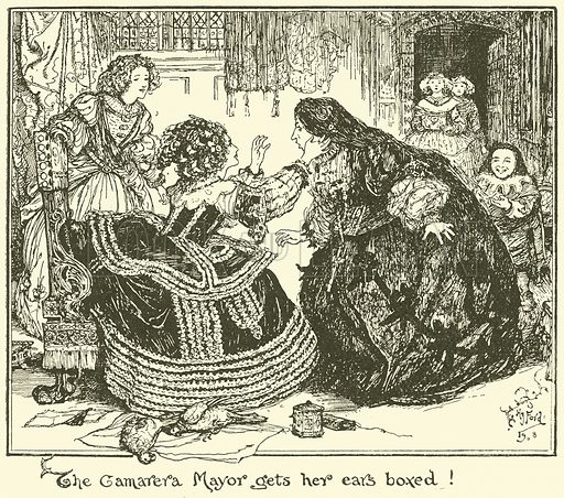 The Camarera Mayor gets her Ears Boxed! Illustration for The Book of Princes and Princesses by Mrs Lang (Longmans, 1908).